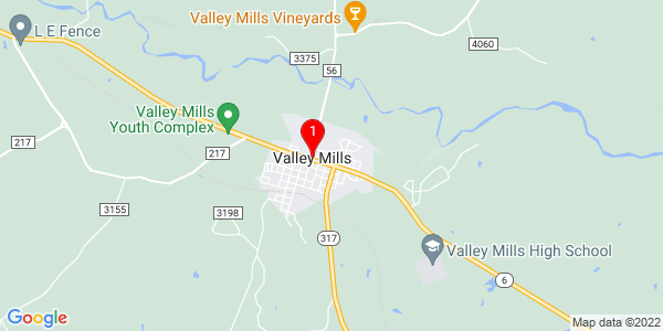 Google Map of Valley Mills, TX